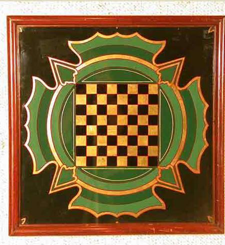 Antique Painted Checkerboard - A9613