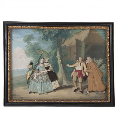 Pair of English  Appliqué  Fabric Panel Diorama - R14284