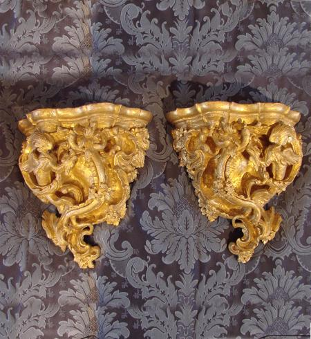 Pair of Gilded Wall Brackets - R14449