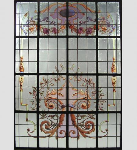 Large Hand Painted and Leaded Window - RDA11154
