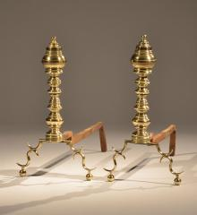 Pair of Federal Brass Andirons - A15114