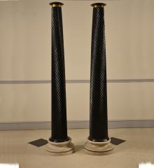 Pair of Ebonized Solid Mahogany Columns  - R14750