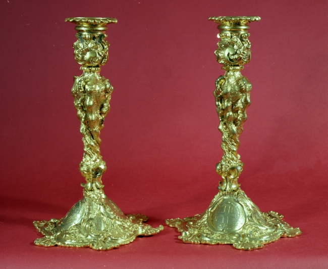 Pair of English candlesticks dated 1775